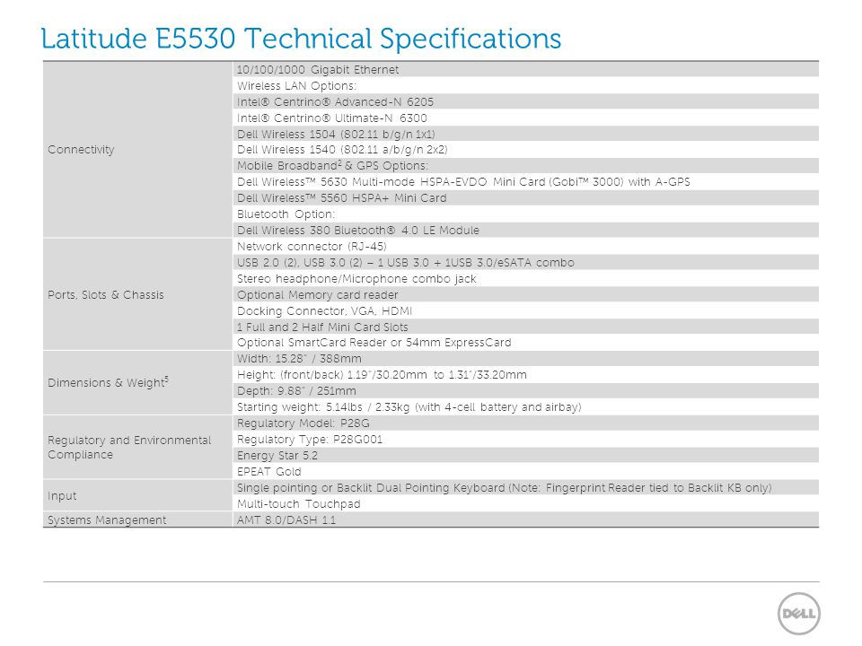Latitude E5530 Technical Specifications