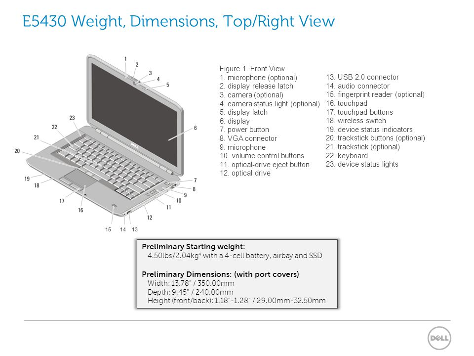 E5430 Weight, Dimensions, Top/Right View