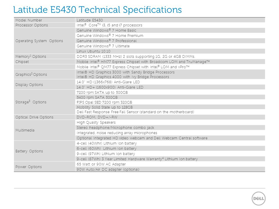 Latitude E5430 Technical Specifications
