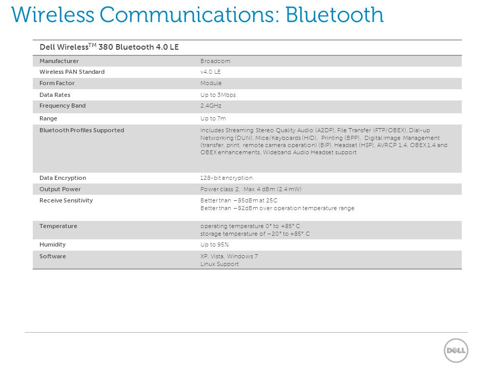 Wireless Communications: Bluetooth