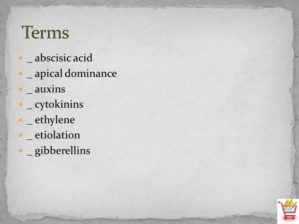 Terms _ abscisic acid _ apical dominance _ auxins _ cytokinins