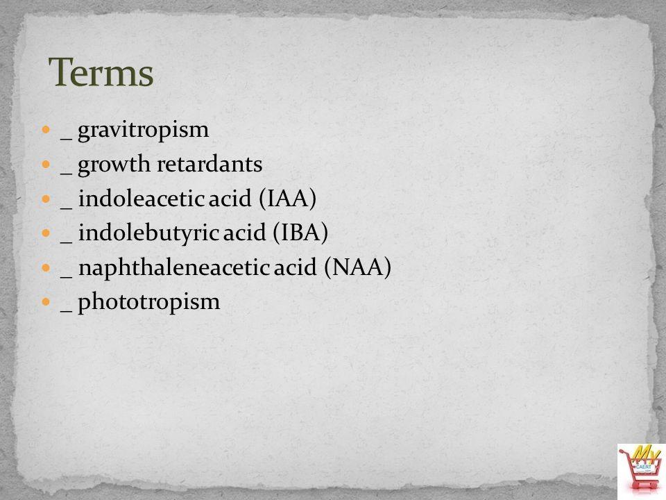 Terms _ gravitropism _ growth retardants _ indoleacetic acid (IAA)