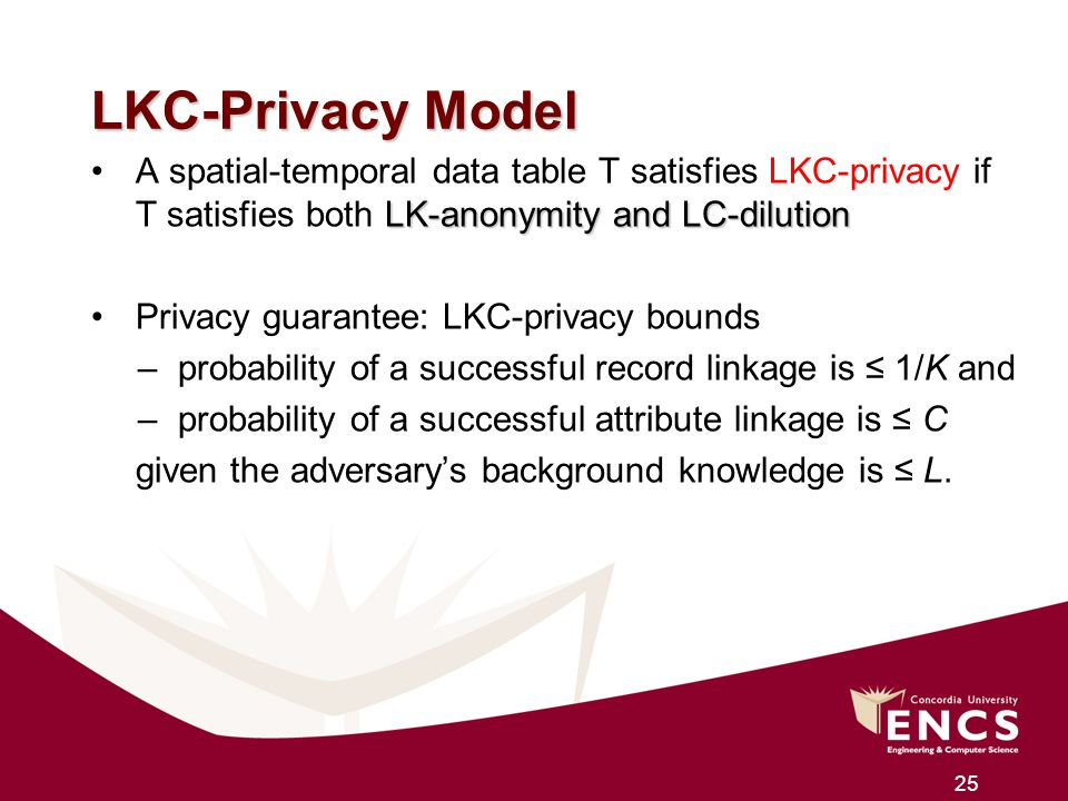 LKC-Privacy Model A spatial-temporal data table T satisfies LKC-privacy if T satisfies both LK-anonymity and LC-dilution.