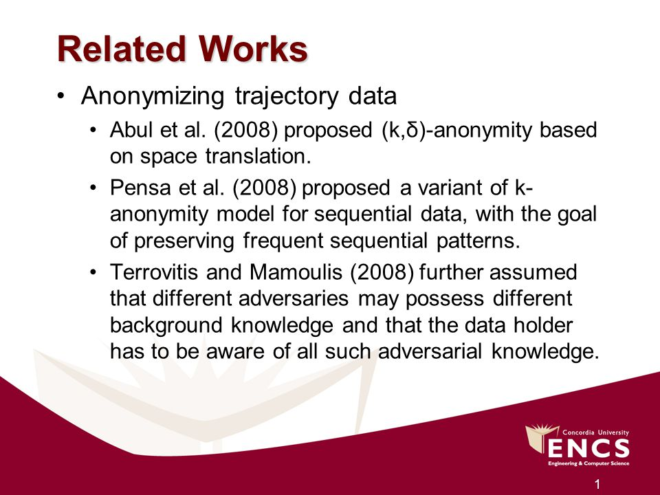 Related Works Anonymizing trajectory data