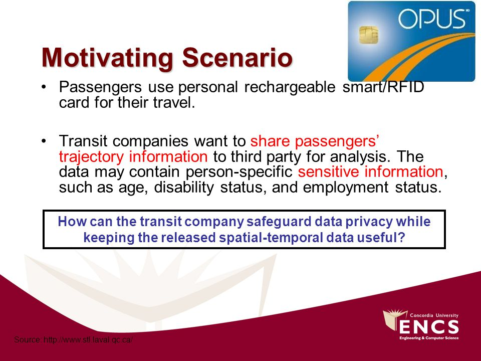 Motivating Scenario Passengers use personal rechargeable smart/RFID card for their travel.