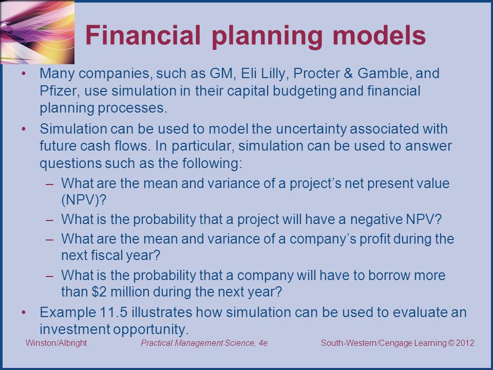 Financial planning models