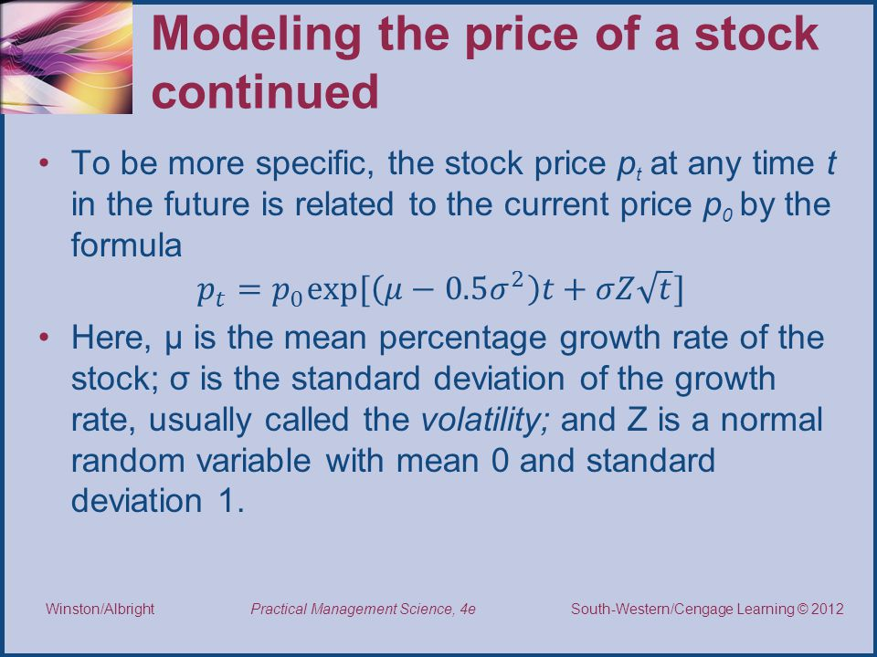 Modeling the price of a stock continued