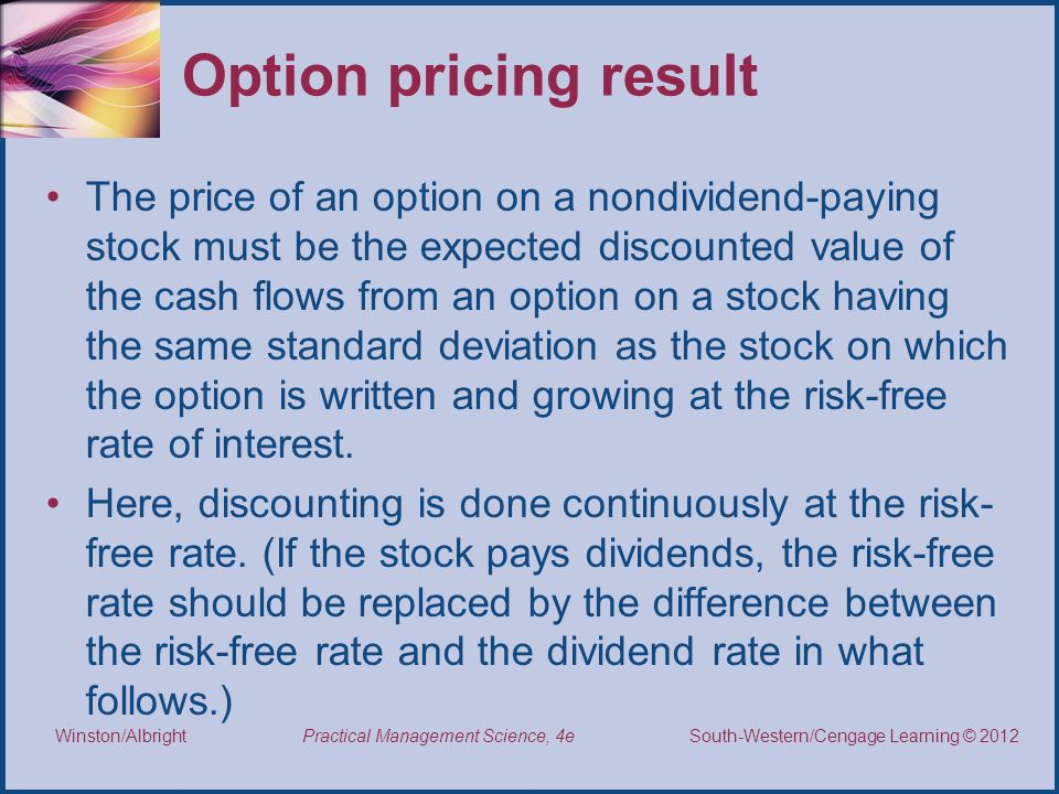 Option pricing result