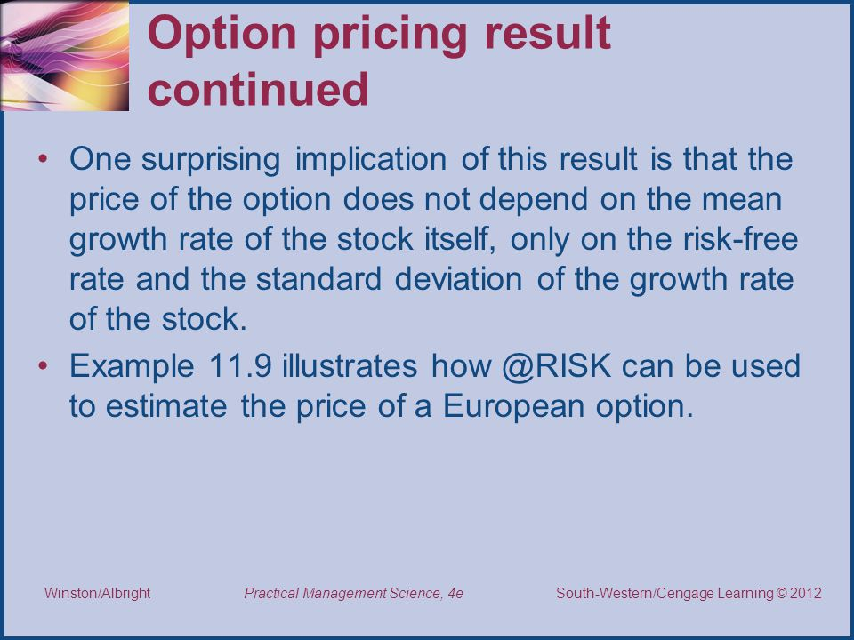 Option pricing result continued