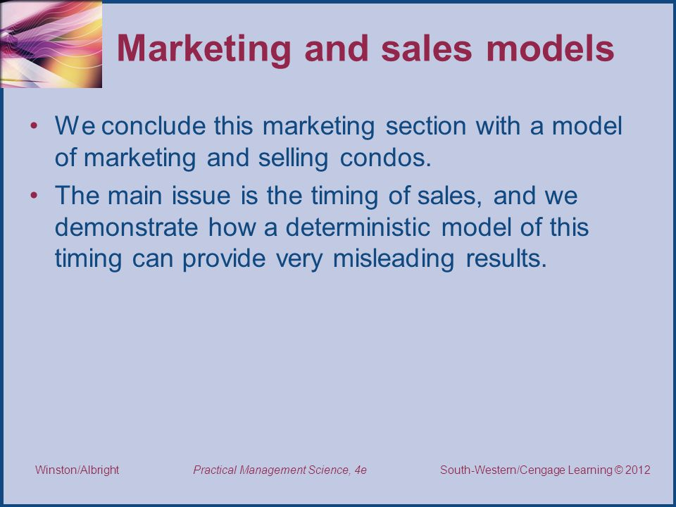 Marketing and sales models