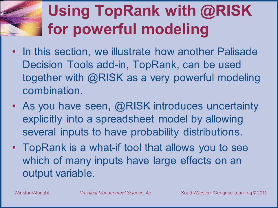 Using TopRank with @RISK for powerful modeling