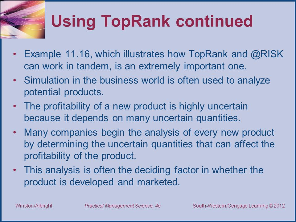 Using TopRank continued