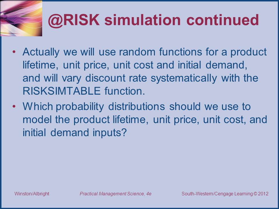 @RISK simulation continued