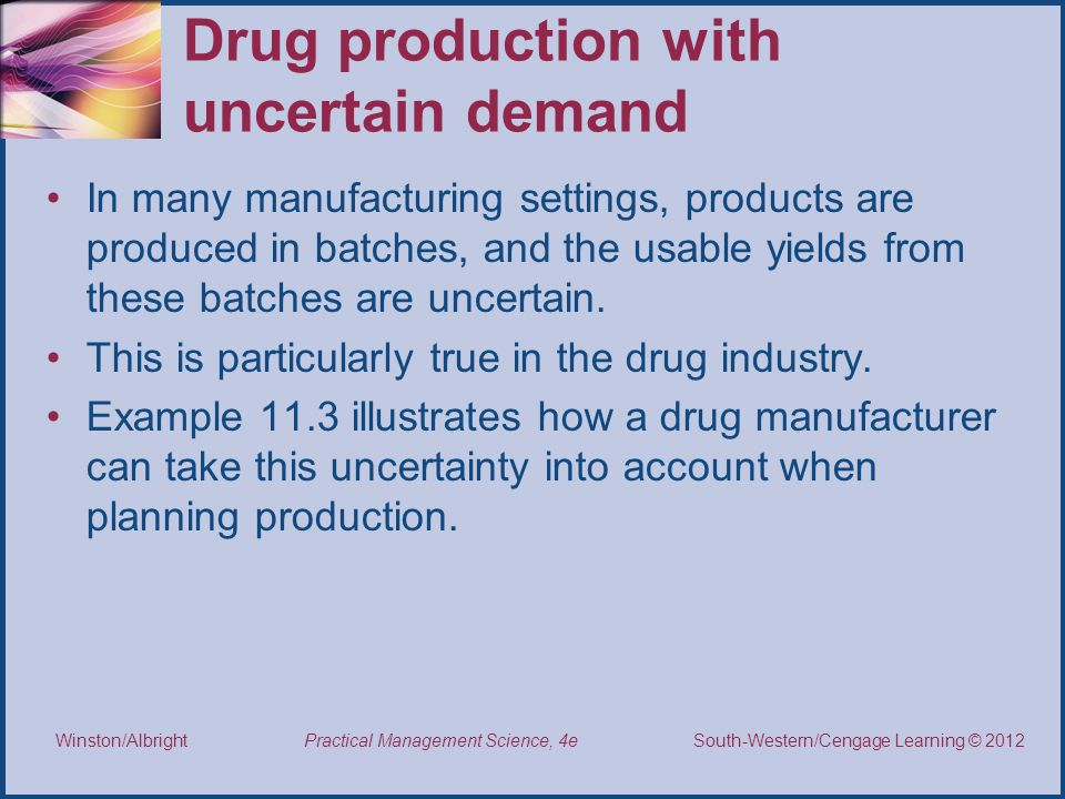 Drug production with uncertain demand