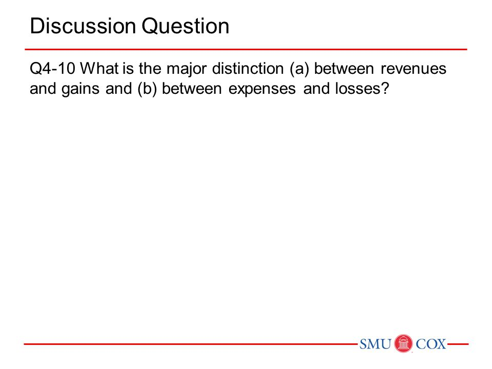Discussion Question Q4-10 What is the major distinction (a) between revenues and gains and (b) between expenses and losses