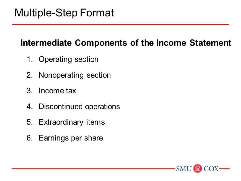 Multiple-Step Format Intermediate Components of the Income Statement