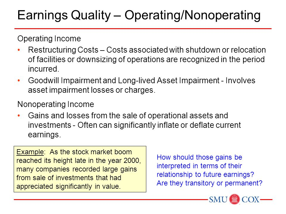 Earnings Quality – Operating/Nonoperating