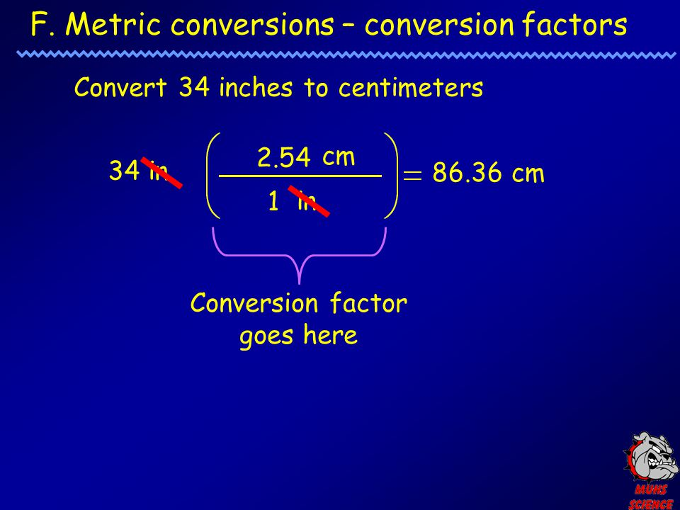 F. Metric conversions – conversion factors