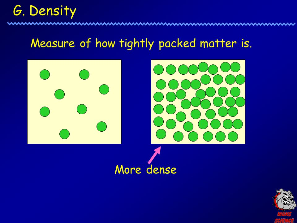 G. Density Measure of how tightly packed matter is. More dense