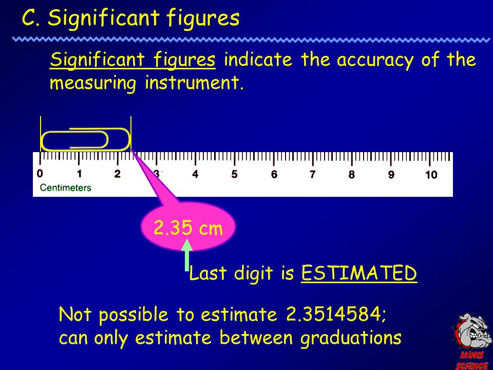 C. Significant figures Significant figures indicate the accuracy of the measuring instrument. 2.35 cm.