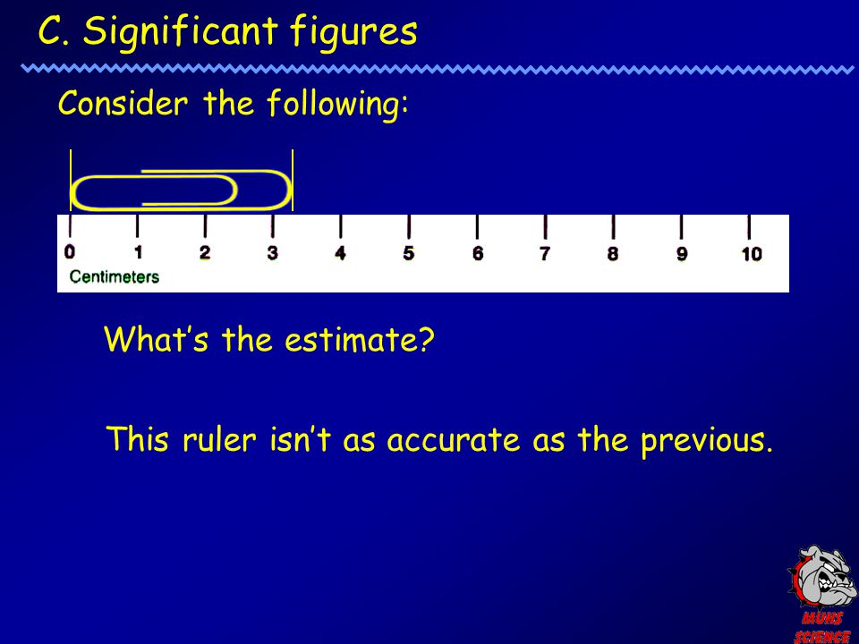 C. Significant figures Consider the following: What's the estimate