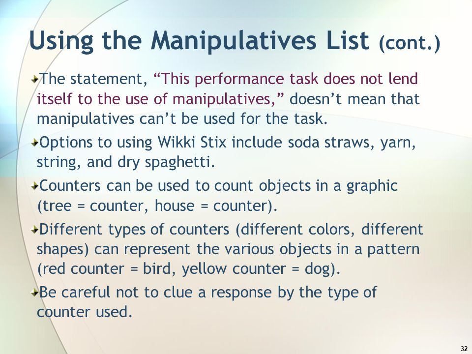 Using the Manipulatives List (cont.)