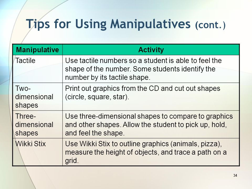 Tips for Using Manipulatives (cont.)