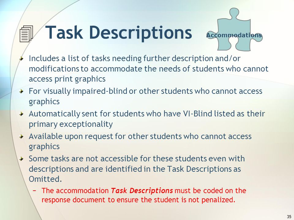 Accommodations  Task Descriptions.