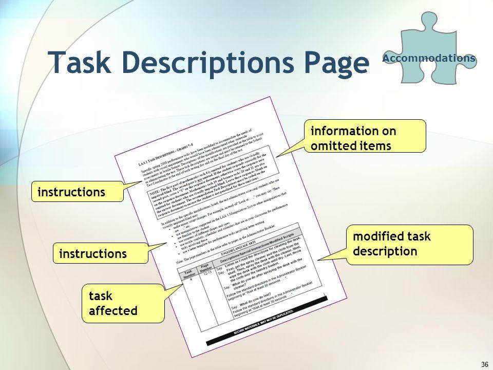 Task Descriptions Page