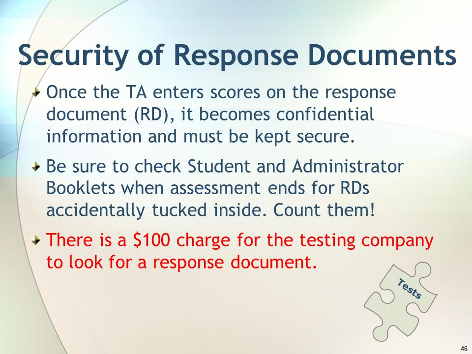 Security of Response Documents