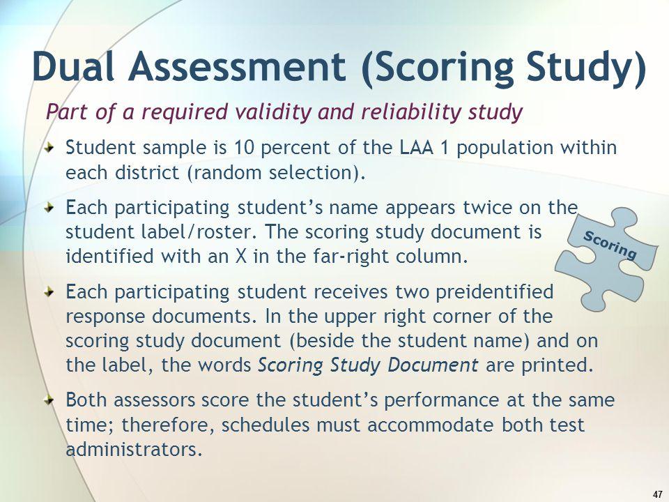 Dual Assessment (Scoring Study)