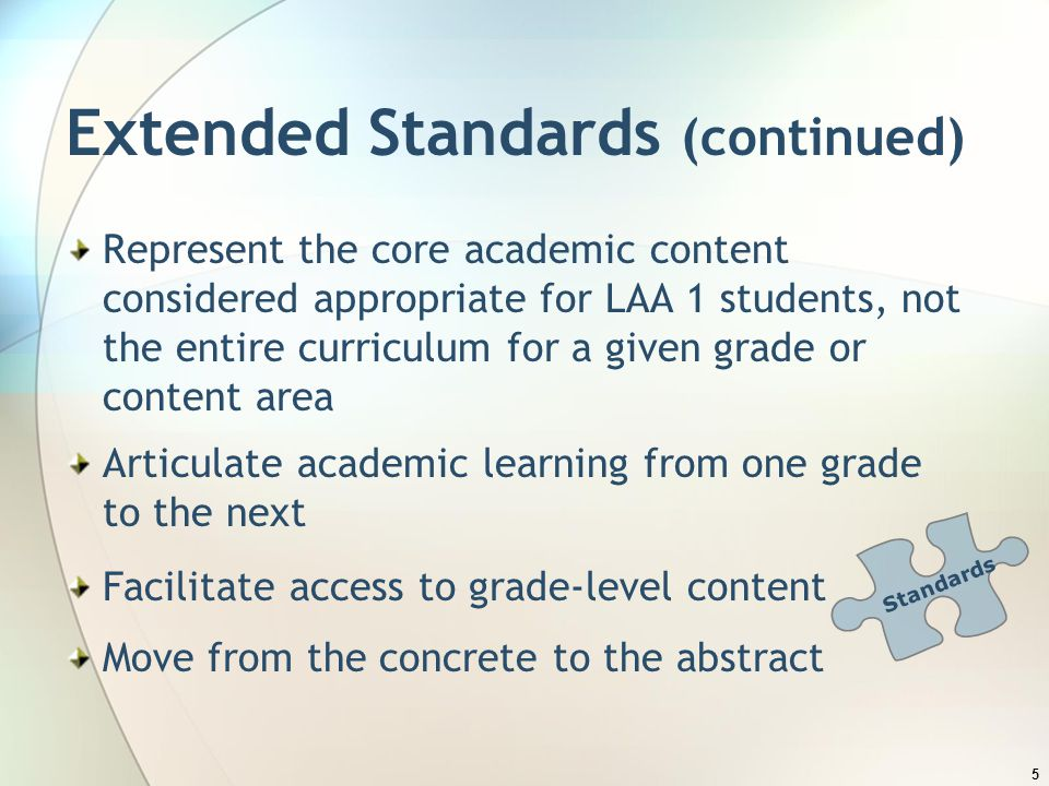 Extended Standards (continued)