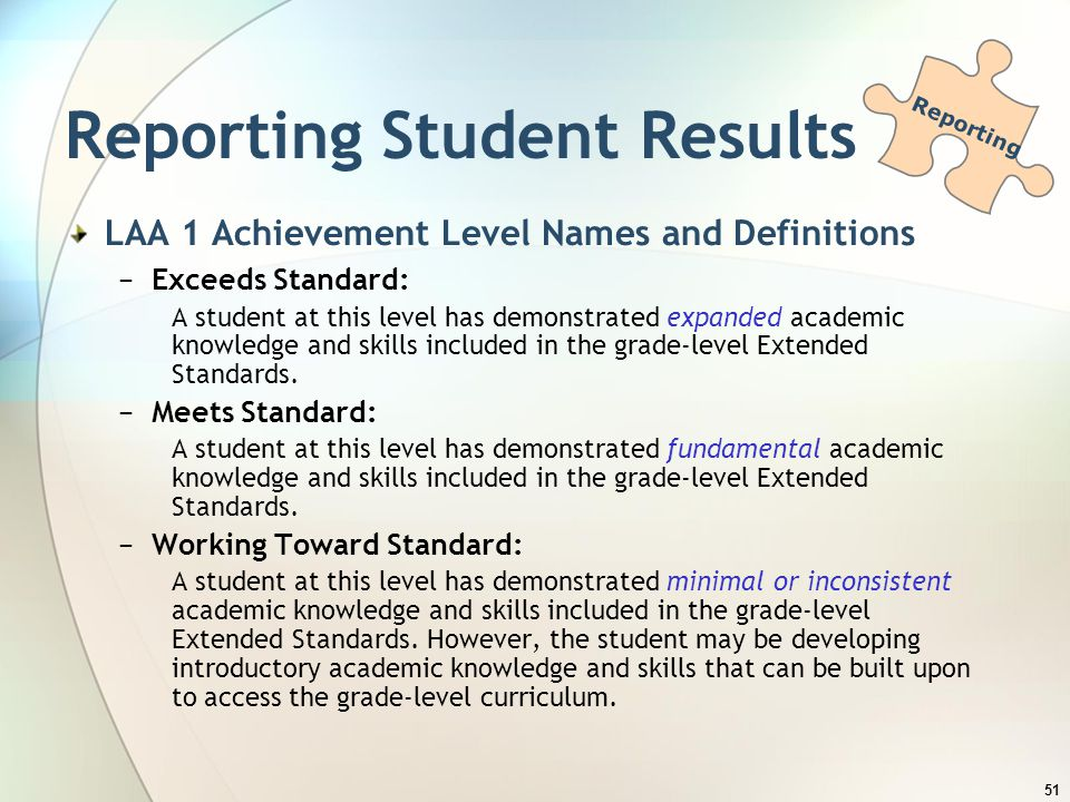 Reporting Student Results