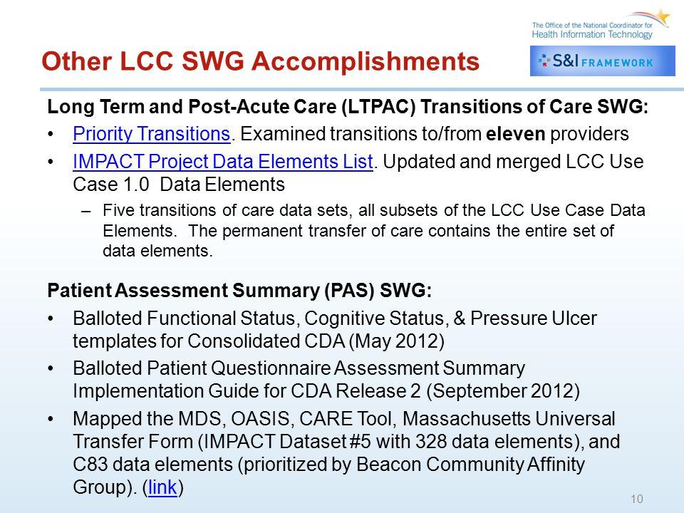 Other LCC SWG Accomplishments