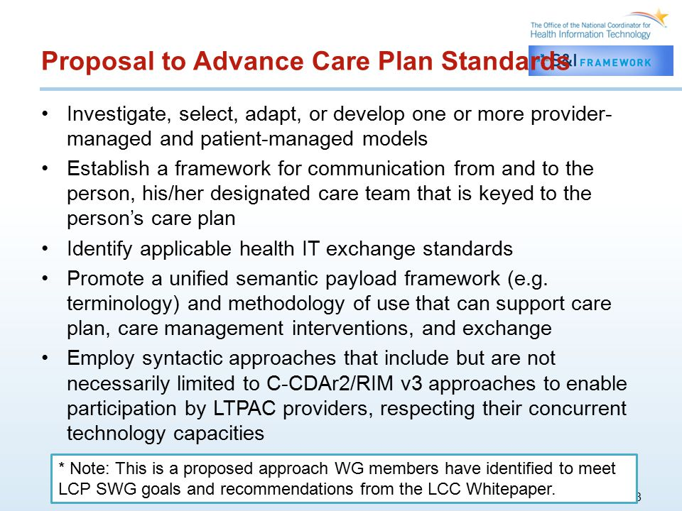 Proposal to Advance Care Plan Standards