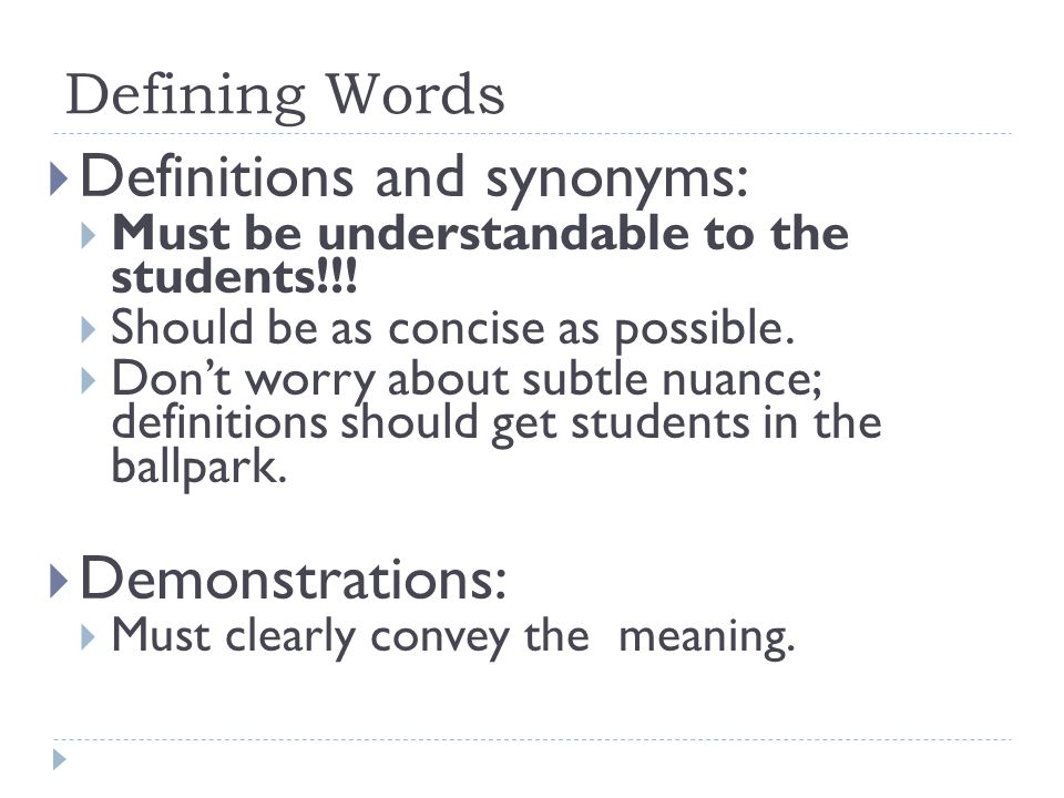 Definitions and synonyms: