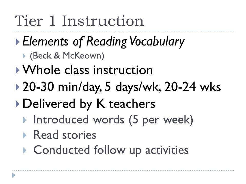 Tier 1 Instruction Elements of Reading Vocabulary