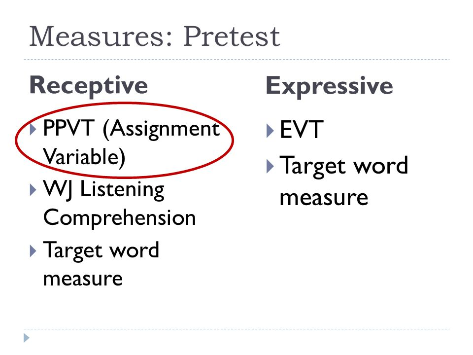 Measures: Pretest Receptive Expressive EVT Target word measure
