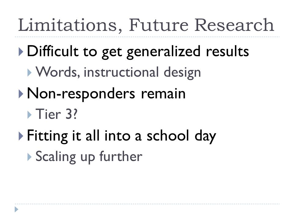 Limitations, Future Research