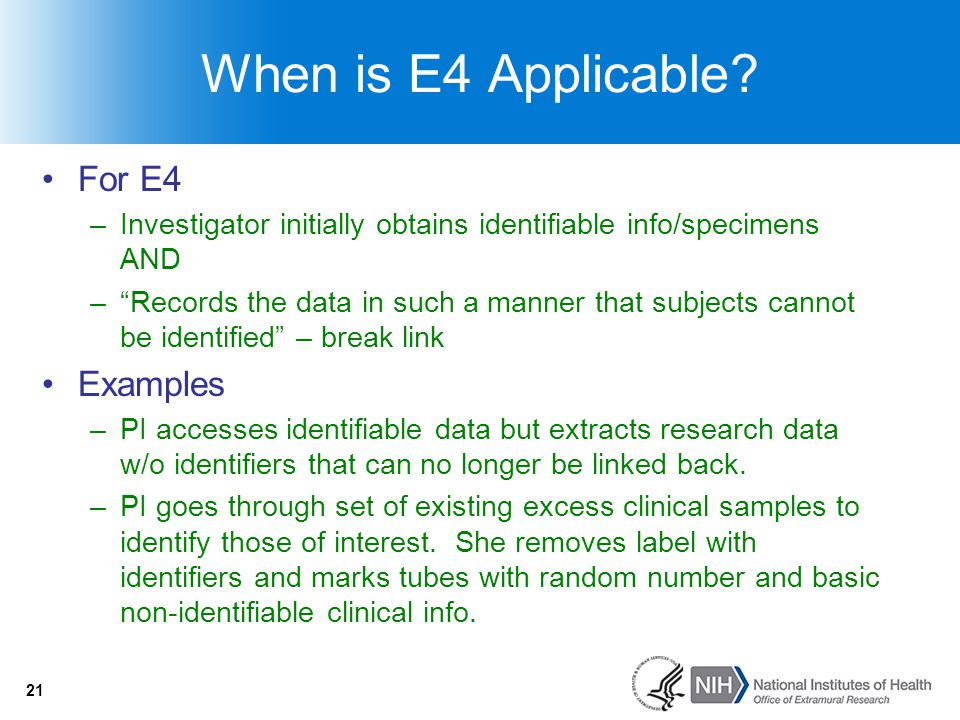When is E4 Applicable For E4 Examples
