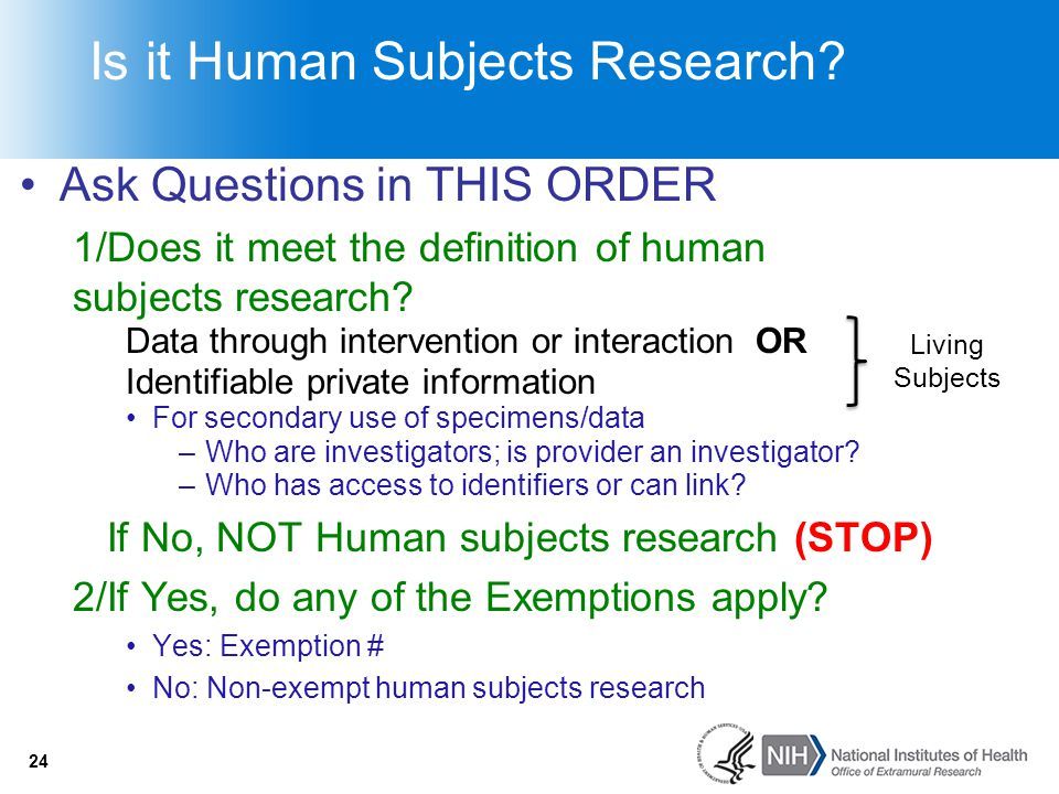 Is it Human Subjects Research