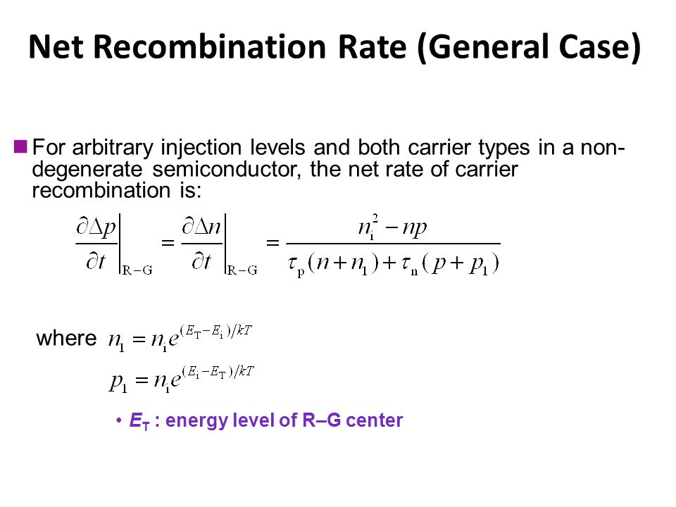 Net Recombination Rate (General Case)