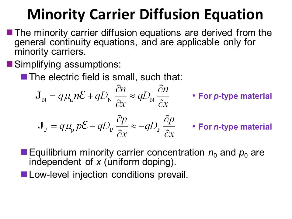 Minority Carrier Diffusion Equation