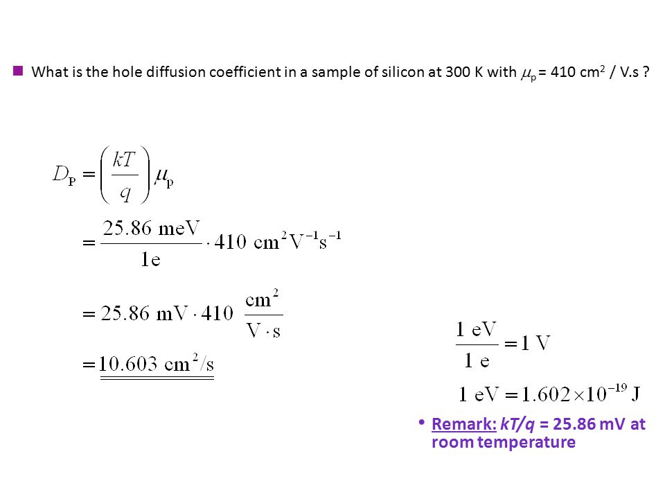Remark: kT/q = 25.86 mV at room temperature