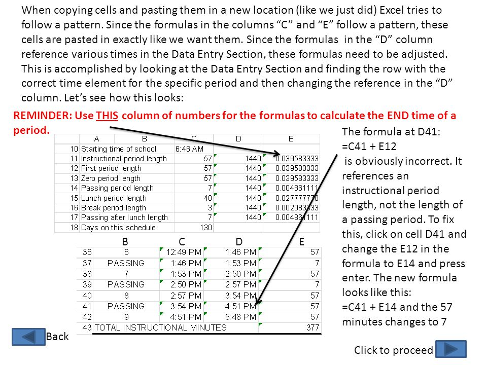When copying cells and pasting them in a new location (like we just did) Excel tries to follow a pattern. Since the formulas in the columns C and E follow a pattern, these cells are pasted in exactly like we want them. Since the formulas in the D column reference various times in the Data Entry Section, these formulas need to be adjusted. This is accomplished by looking at the Data Entry Section and finding the row with the correct time element for the specific period and then changing the reference in the D column. Let's see how this looks: