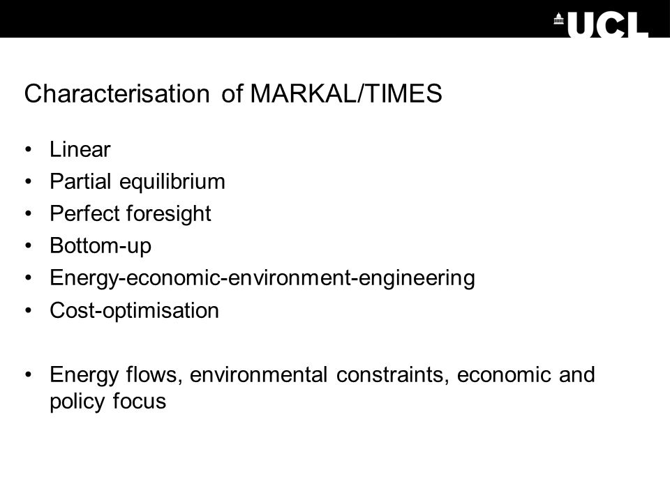Characterisation of MARKAL/TIMES