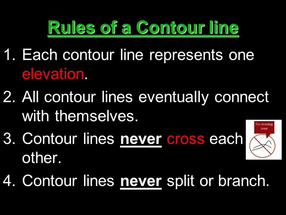 Rules of a Contour line Each contour line represents one elevation.