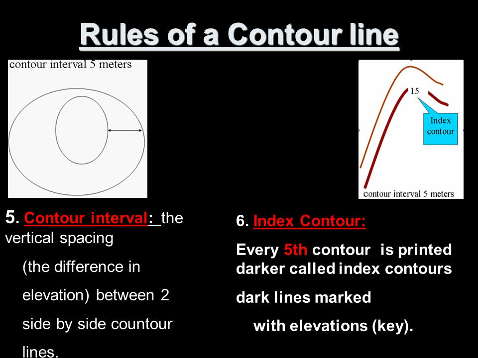 Rules of a Contour line 5. Contour interval: the vertical spacing