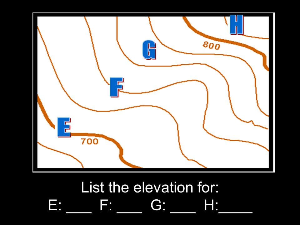 List the elevation for: E: ___ F: ___ G: ___ H:____