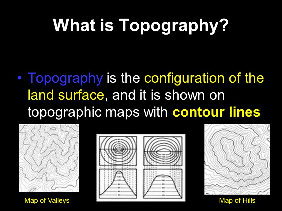 What is Topography Topography is the configuration of the land surface, and it is shown on topographic maps with contour lines.